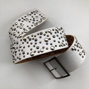 Cracked Leather Stud Belt